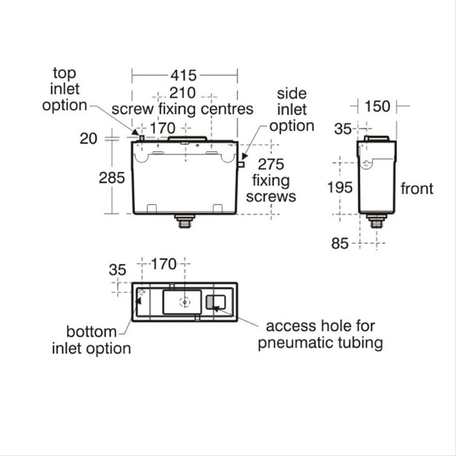 Conceala 2 Pneumatic Valve Flush Plate Cisterns Concealed American Standard Urinal Wiring Diagram 6 4 Litre Cistern