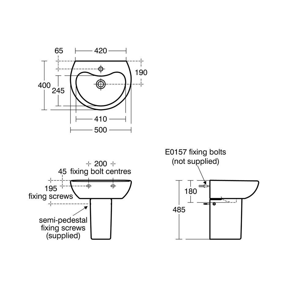 50cm Washbasin. Contour 21 Splash 50cm Schools basin   Pedestal or Wall