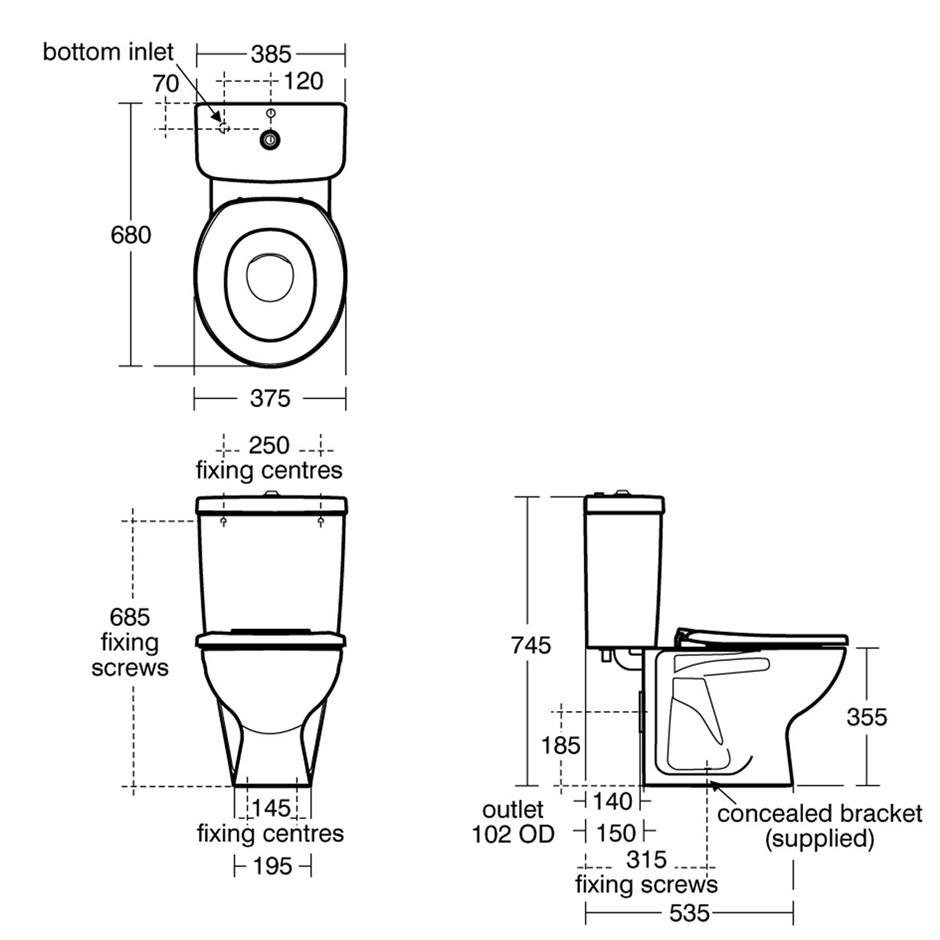 standard toilet dimensions uk. Contour 21 Schools 355 Close Coupled WC Suite  WCs Bluebook