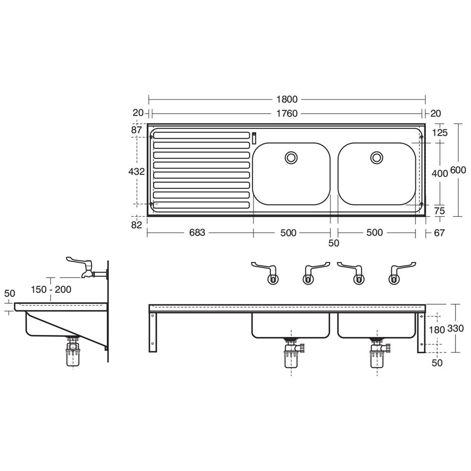 Hbn 00 10 Htm64 St C Doon Double Bowl Single Drainer Sink F67 Wiring Diagram 180x60cm