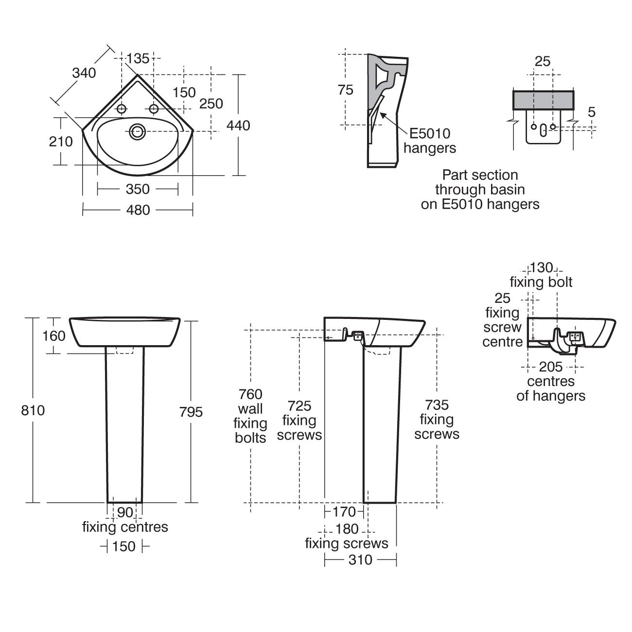 Corner Washbasins : ... 21 48cm Corner Washbasin Handrinse Washbasins Bluebook