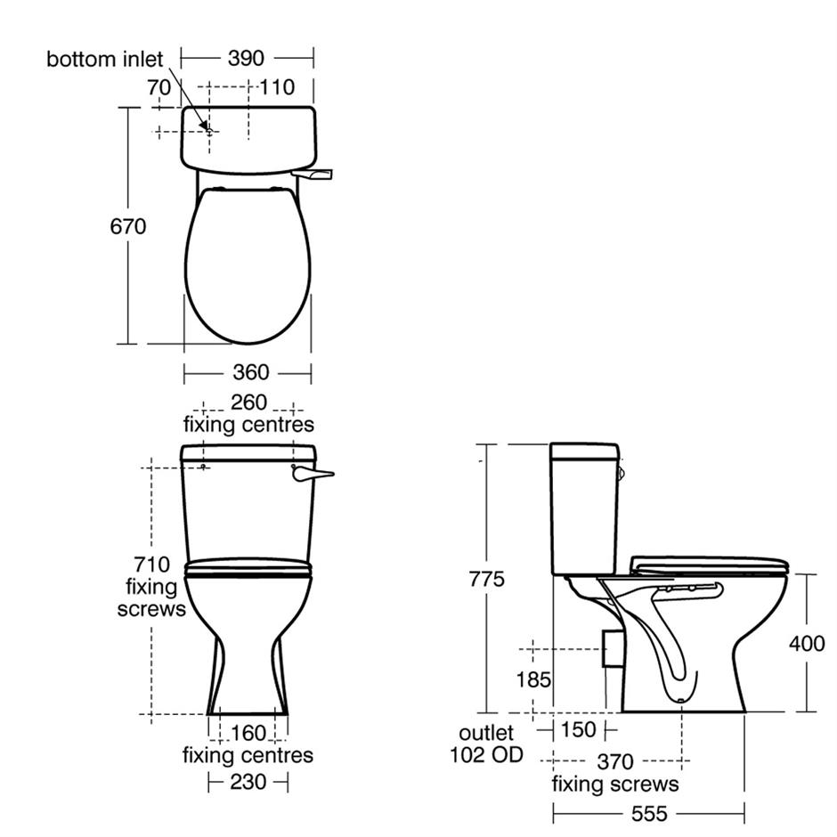 Sandringham 21 Close Coupled WC Suite - Lever | Close