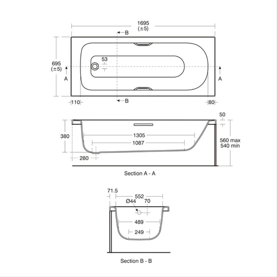 Alto CT 170cm X 70cm Bath Idealform Plus+ | Rectangular | Baths | Bluebook