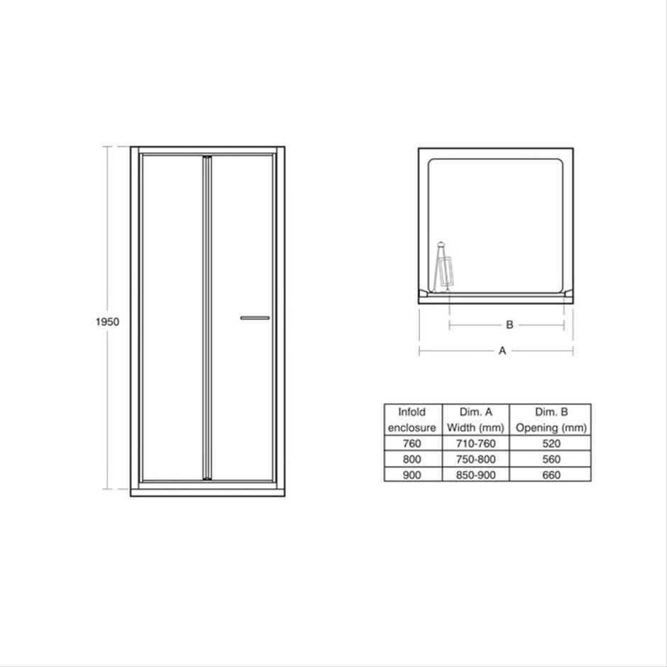 Stunning Bi Fold Shower Doors 800mm Gallery Exterior