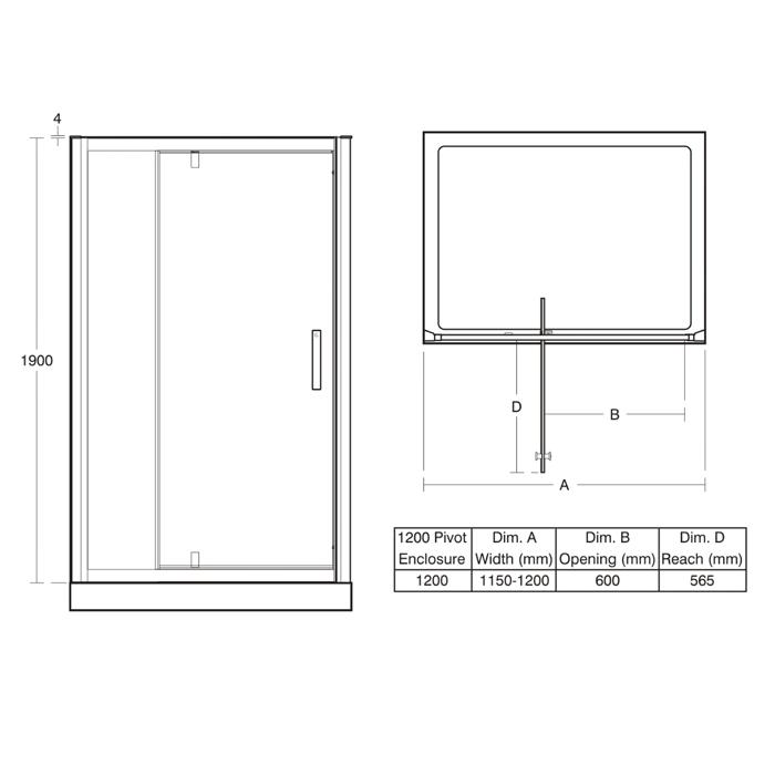 Synergy pivot 1200 alcove door alcove shower for 1200 pivot shower door