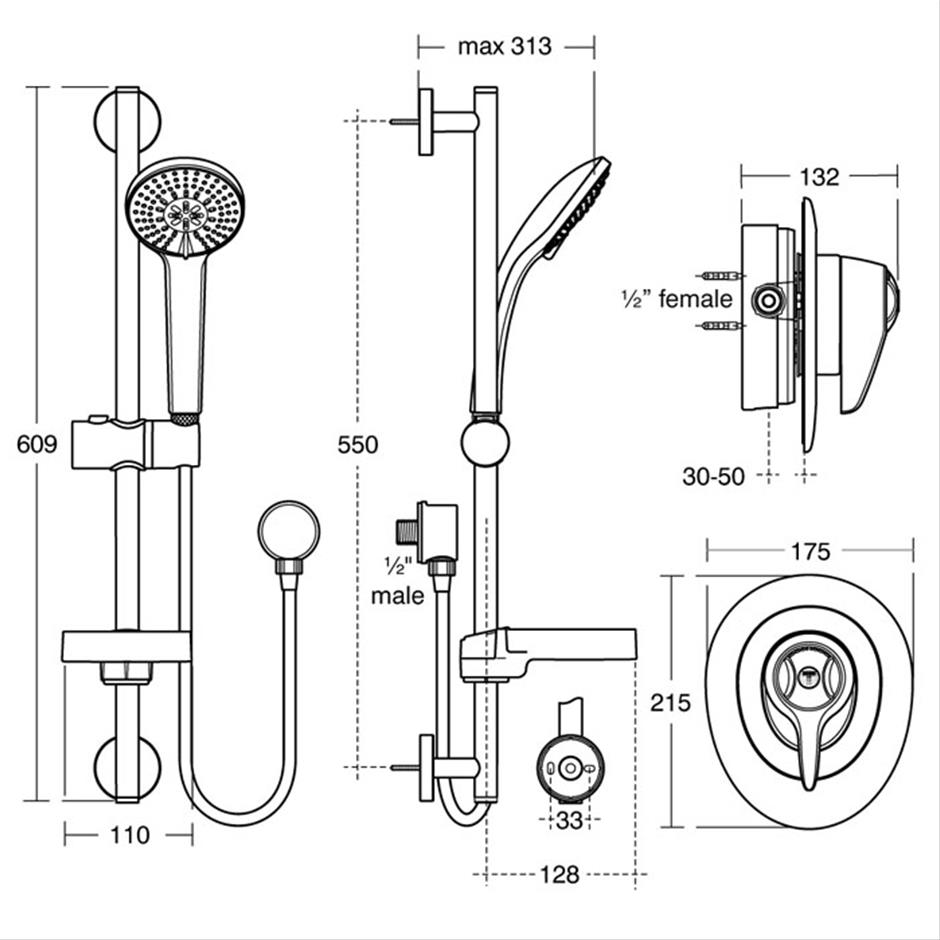 CTV Built-in Shower Pack With Extended Lever | Mixer Packs | Shower ...
