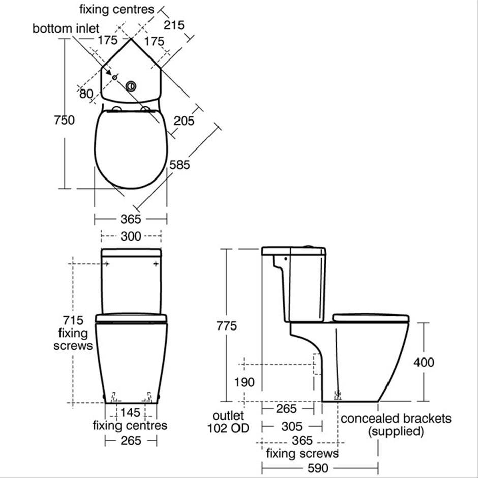 Chiani Compact Close Coupled WC Suite Corner Close Coupled WCs Sottini