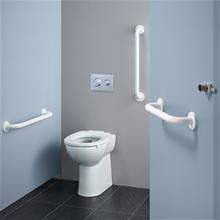 Contour 21+ raised height back-to-wall rimless toilet bowl with raised horizontal outlet and anti-microbial glaze