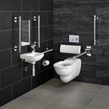 Doc M Contour 21 wall mounted left hand corner pack, rimless WC pan and support brackets, water saving dual flush Conceala cistern, grab rails, luxury back support, hinged support rail with toilet roll holder, seat no cover with retaining buffers, copper tails on TMV3 mixer tap.