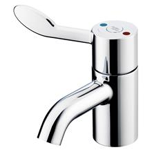 Contour 21+ 1 hole thermostatic basin mixer, single sequential lever with copper tails