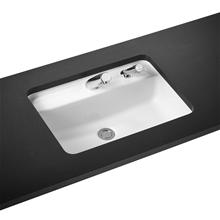 Contour 21 Rectangular 55cm under-countertop washbasin one taphole, overflow & right hand soap dispenser