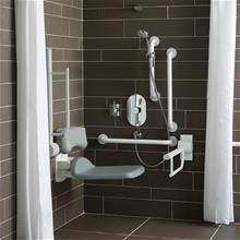 Shower room pack with folding shower seat and back support in grey, 3 x 60cm grab rails, 2 x hinged rails and 2 x 45cm  grab rails, lever operated thermostatic mixer for concealed supplies, shower handset holder, handset & hose, fixed short projection shower head, lever operated diverter, shower curtain and shower rail