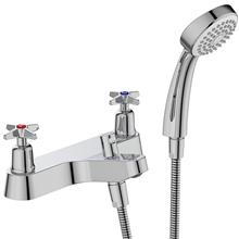 Sandringham 21 bath shower mixer 2 hole with shower set, crosshead  handles