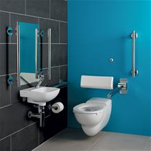 Doc M contour 21 and Sensorflow 21 wall mounted left hand pack, sensor tap and TMV3 thermostatic valve, rimless WC pan and support brackets, Conceala water saving delay fill 4.5litre Sensorflow cistern, hinged support rail and toilet roll holder