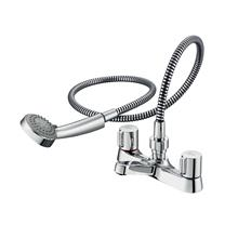 Alto dual control two hole bath shower mixer with shower set