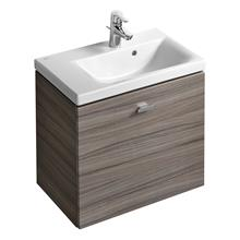 Concept Space 600 x 380mm wall hung basin unit with one drawer, left hand