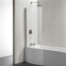 Tempo Arc shower bath screen, Clear Glass and Bright Silver finish