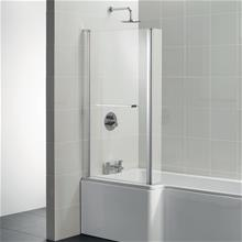 Tempo Cube Square shower bath screen, Clear Glass and Bright Silver finish