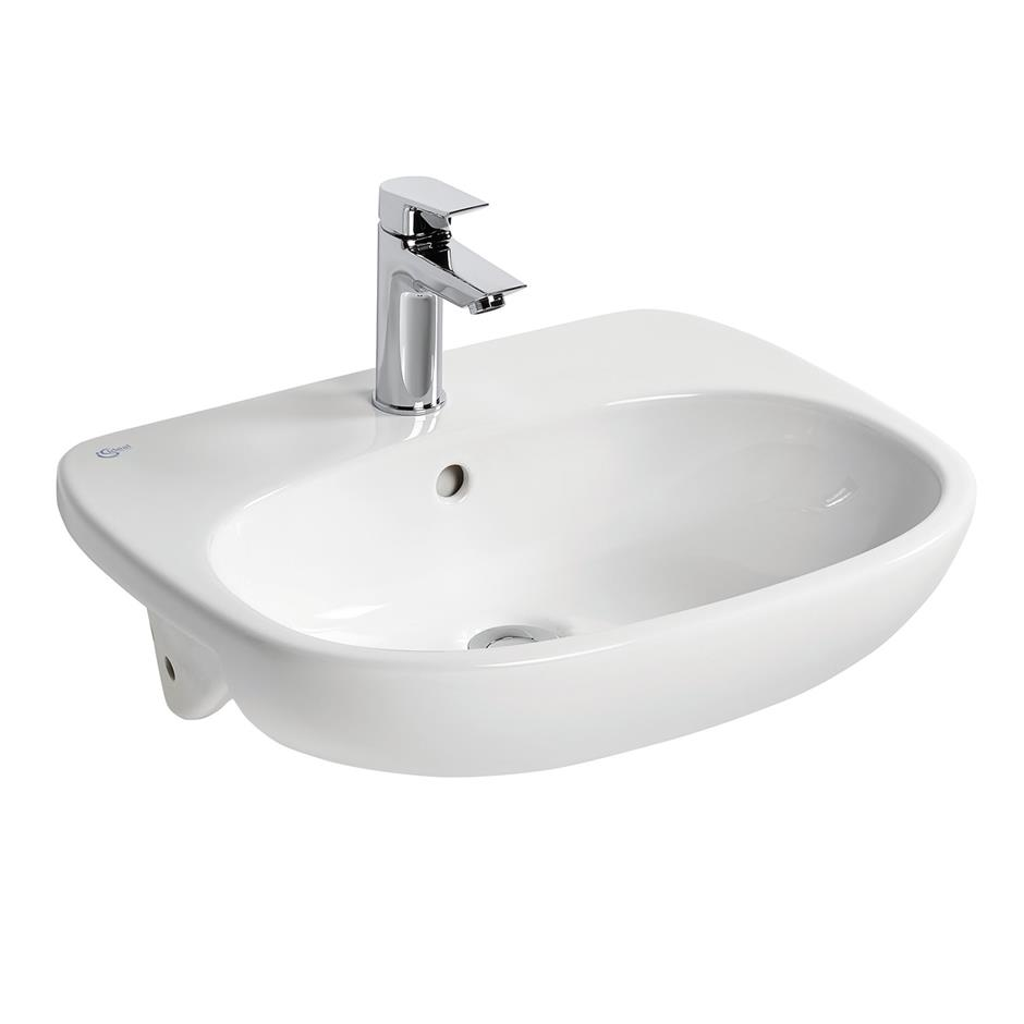 Tesi 55cm semi countertop washbasin semi countertop for Tesi design ideal standard