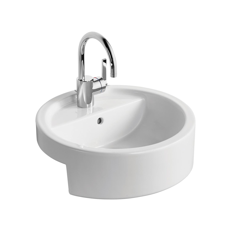 White 45cm Semi Countertop Washbasin Semi Recessed Basins Wash Basins Bluebook